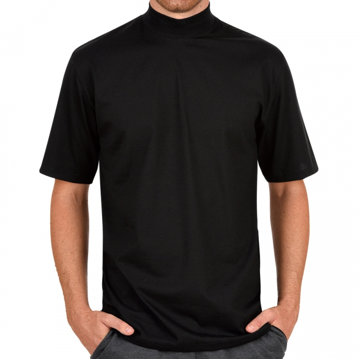 halbarm t shirt mit elastischem stehkragen trigema deluxe single jersey dessous insel. Black Bedroom Furniture Sets. Home Design Ideas