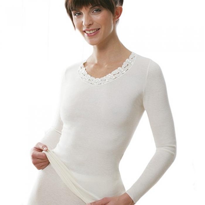 medima classic plus seide damen unterhemd langarm mit spitze 2379 dessous insel. Black Bedroom Furniture Sets. Home Design Ideas